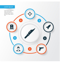 Combat icons set collection of weapons missile vector