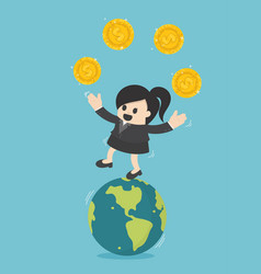 Concept business businesswoman transfer of coins vector