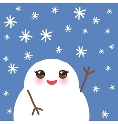 Cute cartoon white kawaii snowmen with snowflakes vector