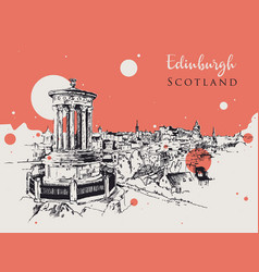 drawing sketch edinburgh vector image