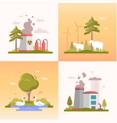 eco lifestyle - set of modern flat design style vector image