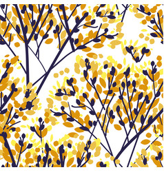 fall sketch style leaves and branches silhouette vector image
