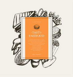 fast food - modern hand drawn square postcard vector image