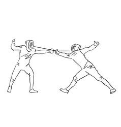 Fighting swordsmen in protective sportswear vector