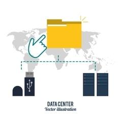 File usb and map icon Data center design vector