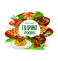 Filipino asian cuisine dishes frame vector
