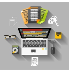 Financier workplace flat design concept vector