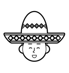 folk hat mexican culture related icon image vector image
