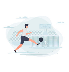 Football player goalkeeper and stadium vector