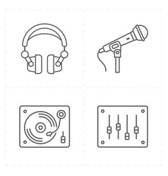 four universal flat music icons vector image