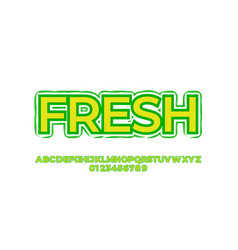 Fresh yellow and green leaf font styles design vector