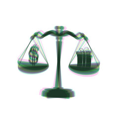 Gift and dollar symbol on scales colorful vector