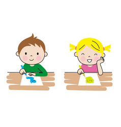 Girl and boy drawing at their desk vector