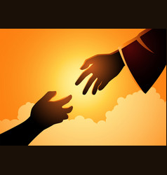 God hand reaching out for human hand vector