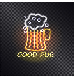 good pub cute glowing signboard with beer glass vector image