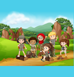 Group of scout kids scene vector