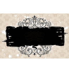 Grunge black banner with old background Vintage vector image