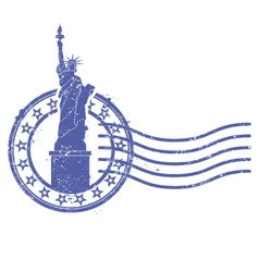 grunge round stamp with statue liberty vector image