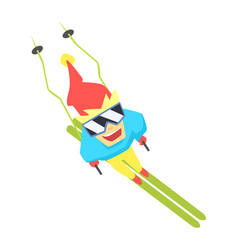 Guy mountain skiing from above part of teenagers vector