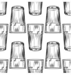 Hand drawn highball glass seamless pattern collin vector