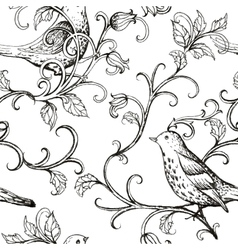 hand drawn with birds texture pattern vector image