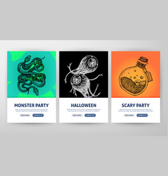 happy halloween web flyer concepts vector image