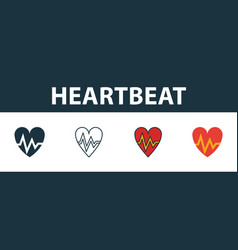 heartbeat icon set four elements in diferent vector image