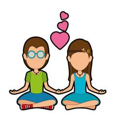 Hippie cute couple cartoon vector