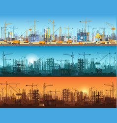 horizontal banner of city or website construction vector image