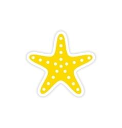 Icon sticker realistic design on paper sea star vector