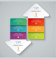 Infographic template arrows pointing up and down vector