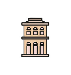 isolated pink color low-rise municipal house in vector image
