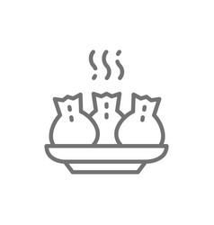khinkali georgian cuisine line icon vector image