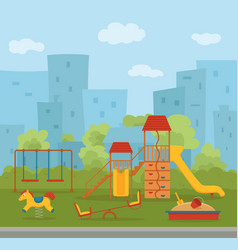 Kid s playground colorful cartoon vector