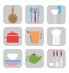 kitchen tool icons vector image