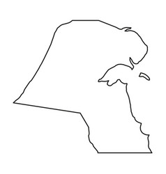 Kuwait map of black contour curves of vector