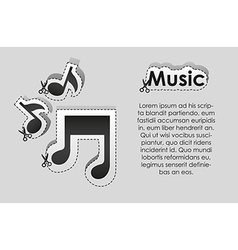 Label with cut lines and the image of musical note vector