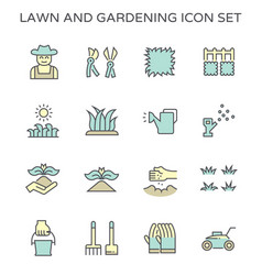 Lawn gardening plant tools and worker icon set vector
