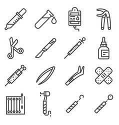 Line medical equipment and supplies icons vector