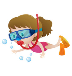 Little girl diving under the water vector