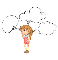 Little girl with speech bubble template vector