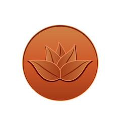 lotus leather logo seal design vector image