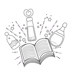 Magic potion bottles with book vector