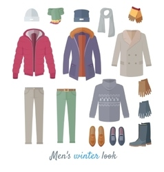 Men s Winter Look Concept In Flat Design vector image