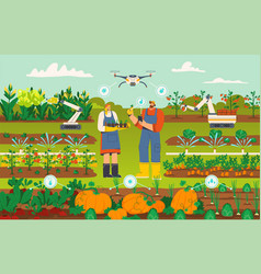modern smart farming with drone and robots concept vector image
