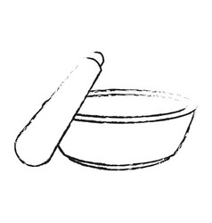 Monochrome blurred silhouette with bowl and vector