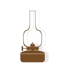 monochrome icon set with kerosene lamp vector image