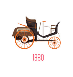 motor wagon 1880 side view and car vector image