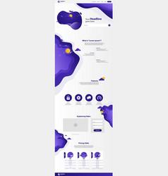 new trendy landing page website template design vector image