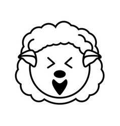 Outline sheep head animal vector